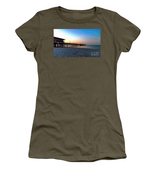 Dawn At Gulf Shores Pier Al Seascape 1283a Digital Painting Women's T-Shirt