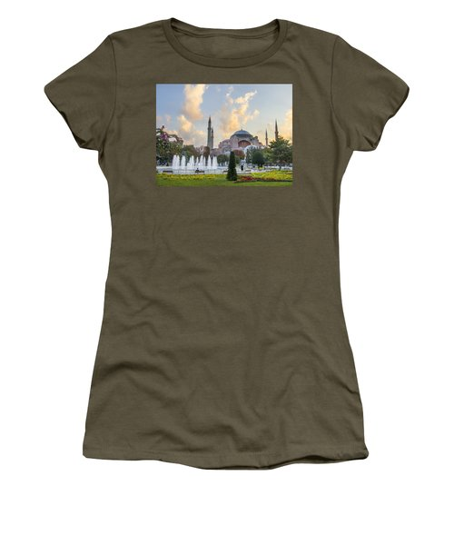 Women's T-Shirt (Junior Cut) featuring the photograph Dawn Hagia Sophia Istanbul by Sally Ross
