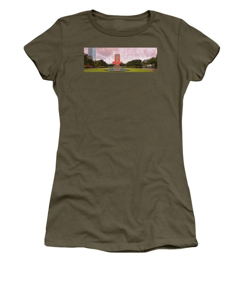 Dawn Panorama Of Houston City Hall At Hermann Square - Downtown Houston Harris County Women's T-Shirt