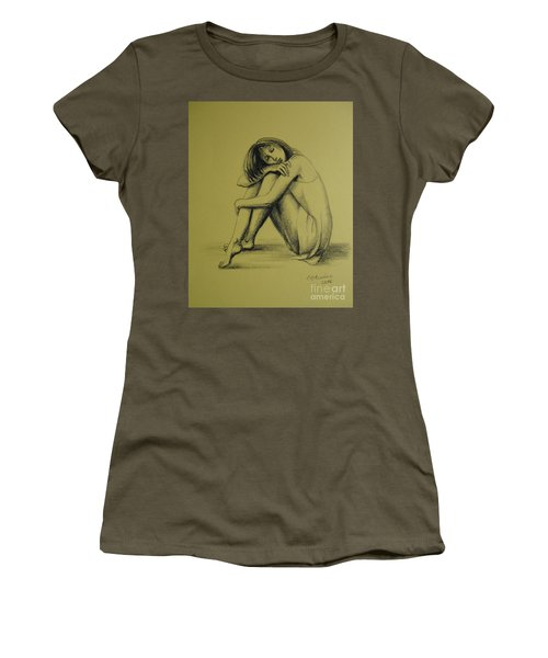 Women's T-Shirt (Junior Cut) featuring the drawing Day Dreaming by Elena Oleniuc