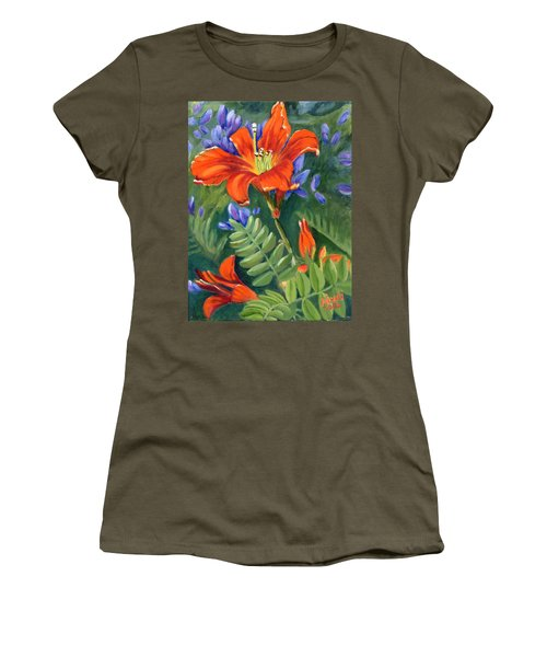 Women's T-Shirt (Junior Cut) featuring the painting Daylilies by Renate Nadi Wesley