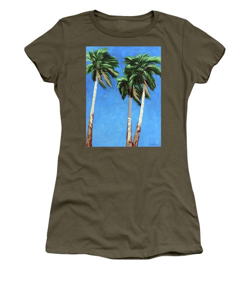 Women's T-Shirt (Junior Cut) featuring the painting Daytime Moon In Palm Springs by Linda Apple