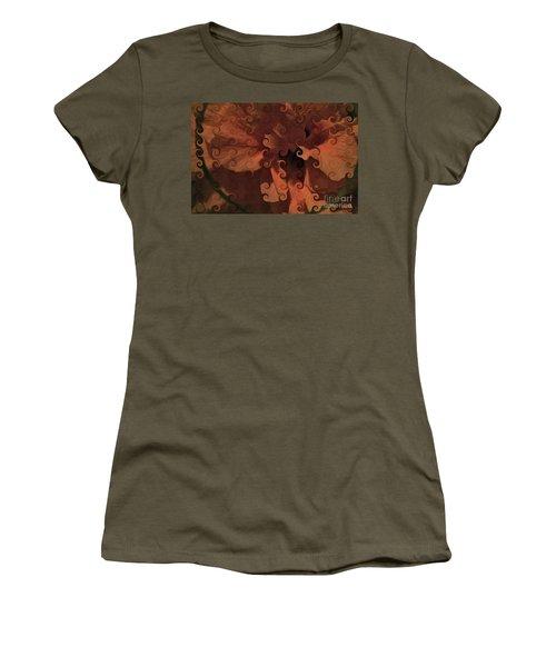 Deep Wine Curlicue Hibiscus Women's T-Shirt
