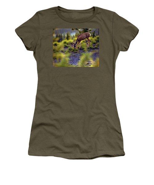 Women's T-Shirt (Junior Cut) featuring the photograph Deer At Crater Lake, Oregon by John A Rodriguez