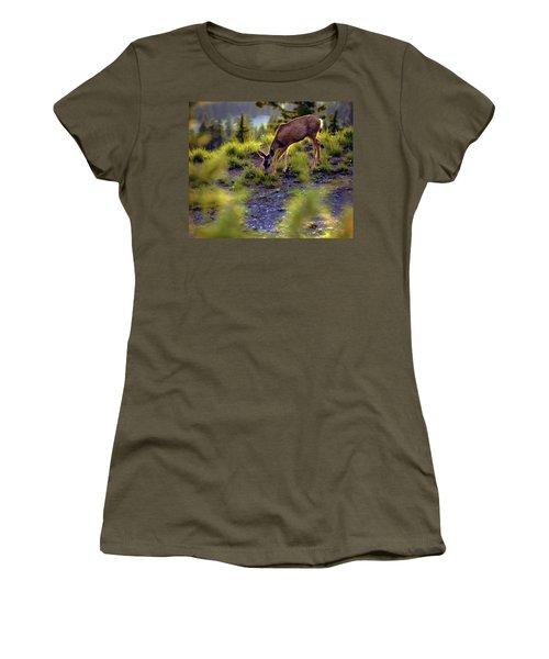 Deer At Crater Lake, Oregon Women's T-Shirt (Athletic Fit)