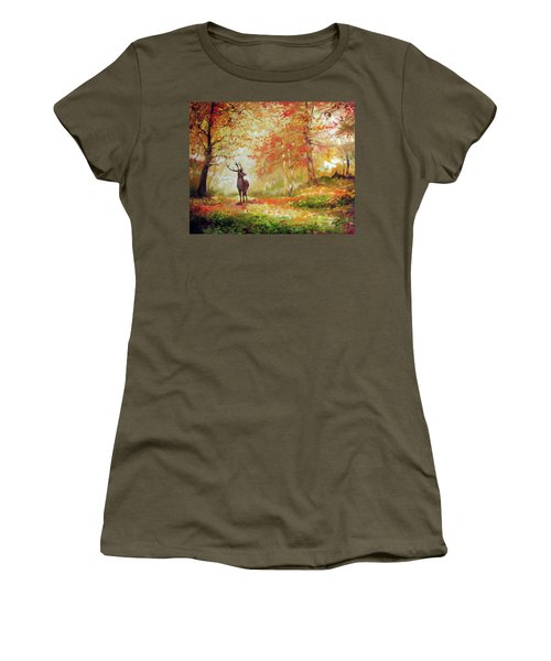 Deer On The Wooden Path Women's T-Shirt