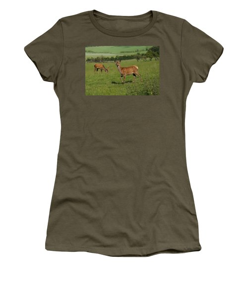 Deers On A Hill Pasture. Women's T-Shirt