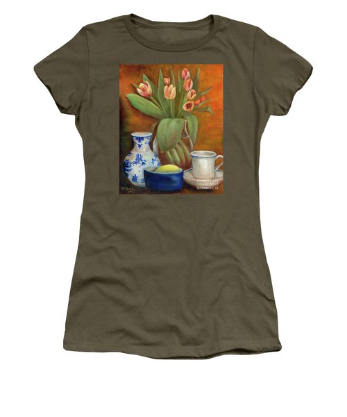 Delft Vase And Mini Tulips Women's T-Shirt (Junior Cut) by Marlene Book
