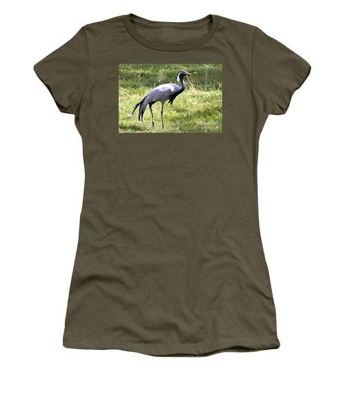 Women's T-Shirt (Junior Cut) featuring the photograph Demoiselle Crane by Teresa Zieba