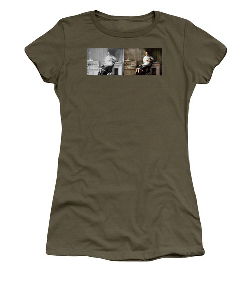 Women's T-Shirt (Athletic Fit) featuring the photograph Dentist - Good Oral Hygiene 1918 - Side By Side by Mike Savad