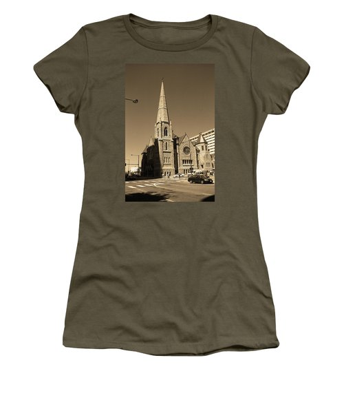 Women's T-Shirt (Junior Cut) featuring the photograph Denver Downtown Church Sepia by Frank Romeo