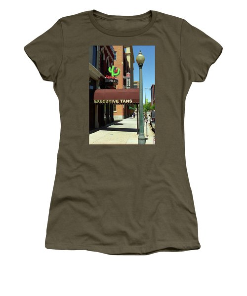 Women's T-Shirt (Junior Cut) featuring the photograph Denver Downtown Storefront by Frank Romeo