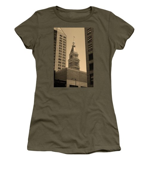 Women's T-Shirt (Junior Cut) featuring the photograph Denver - Historic D F Clocktower 2 Sepia by Frank Romeo
