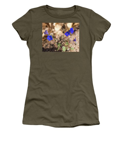 Women's T-Shirt featuring the photograph Desert Blue Bells At Joshua Tree National Park by Penny Lisowski