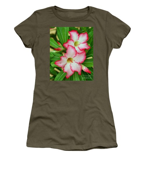 Women's T-Shirt (Junior Cut) featuring the photograph Desert Rose With Buds And Water by Larry Nieland