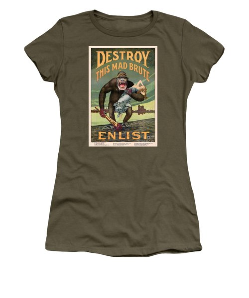 Destroy This Mad Brute - Restored Vintage Poster Women's T-Shirt (Athletic Fit)