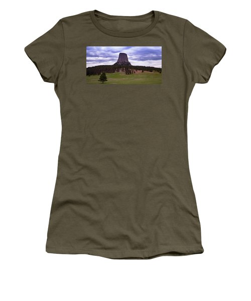Women's T-Shirt (Athletic Fit) featuring the photograph Devil's Tower 2 by Gary Lengyel