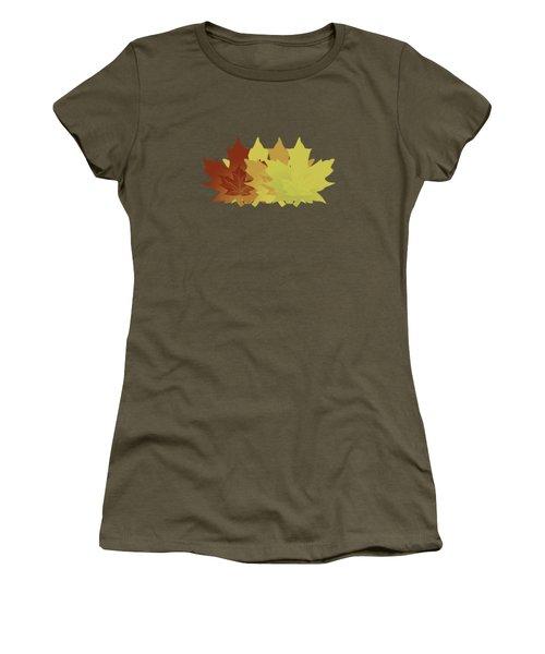 Diagonal Leaf Pattern Women's T-Shirt (Junior Cut) by Methune Hively
