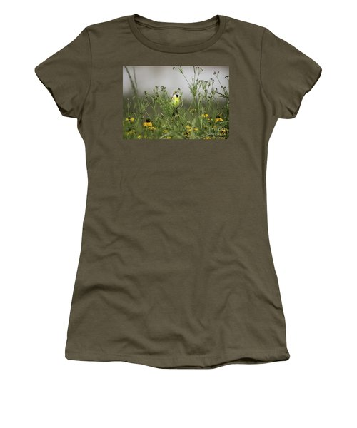 Women's T-Shirt (Junior Cut) featuring the photograph Dickcissel With Mexican Hat by Robert Frederick