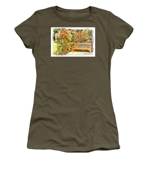 Women's T-Shirt (Junior Cut) featuring the photograph Do-00122 Inviting Bench by Digital Oil