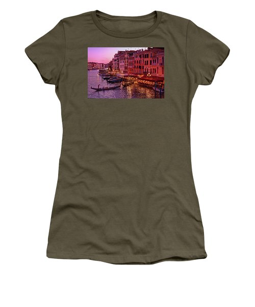 A Cityscape With Vintage Buildings And Gondola - From The Rialto In Venice, Italy Women's T-Shirt