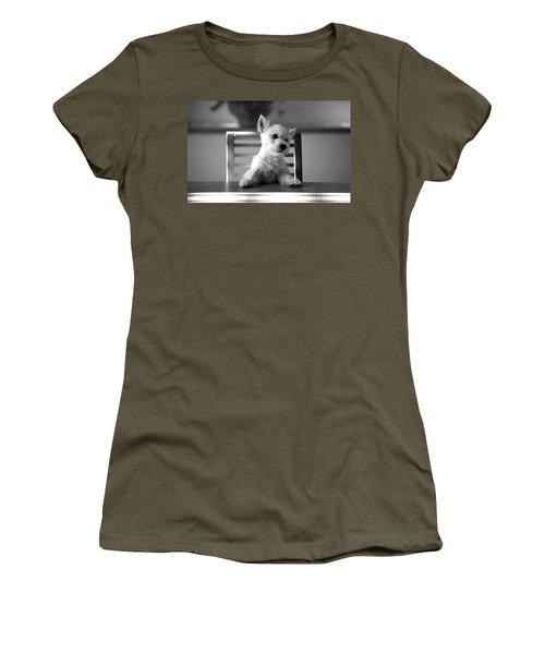 Dog Sitting On The Table Women's T-Shirt