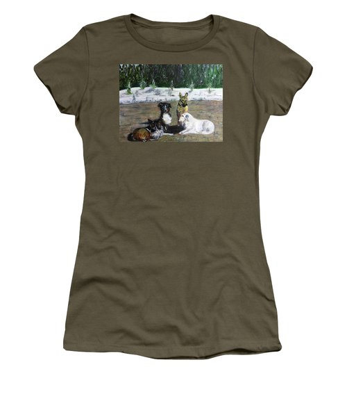 Dogs Having A Meeting Women's T-Shirt (Athletic Fit)
