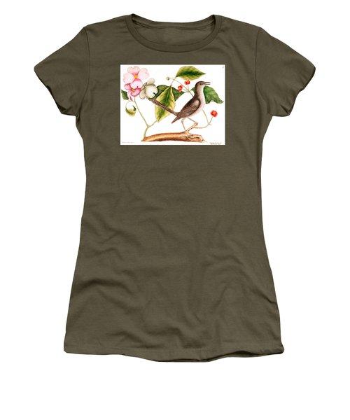 Dogwood  Cornus Florida, And Mocking Bird  Women's T-Shirt (Junior Cut) by Mark Catesby