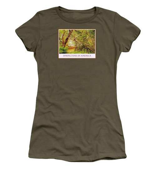 Women's T-Shirt (Junior Cut) featuring the photograph Dogwood Tree In The Forest Spring by A Gurmankin