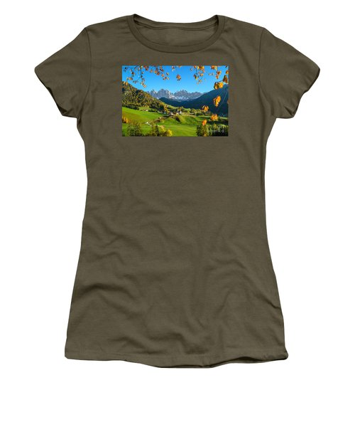 Dolomites Mountain Village In Autumn In Italy Women's T-Shirt (Junior Cut) by IPics Photography