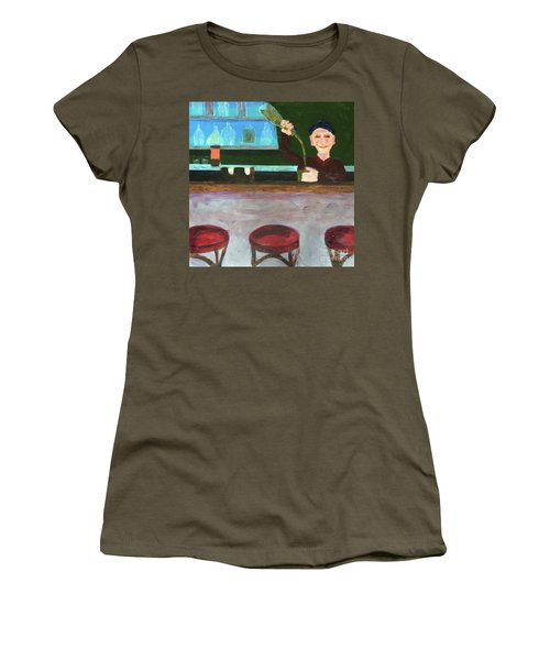 Women's T-Shirt (Athletic Fit) featuring the painting Don At Tres Gringos Bartending by Donald J Ryker III