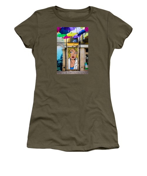 Door No 73 And The Floating Umbrellas Women's T-Shirt (Junior Cut) by Marco Oliveira