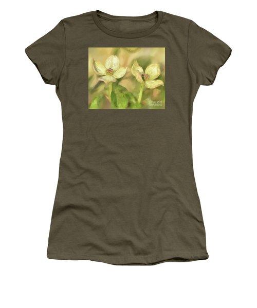 Women's T-Shirt (Junior Cut) featuring the digital art Double Dogwood Blossoms In Evening Light by Lois Bryan