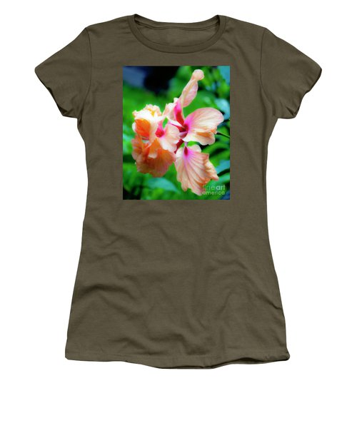 Double Peach Hibiscus Two Women's T-Shirt (Athletic Fit)