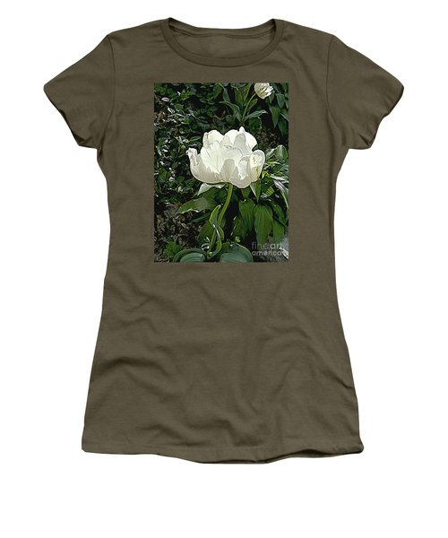 Women's T-Shirt (Junior Cut) featuring the photograph Double Tulip In White by Nancy Kane Chapman