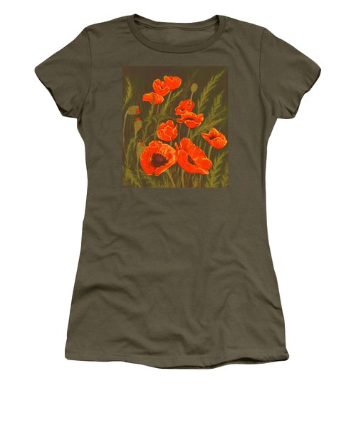 Women's T-Shirt (Athletic Fit) featuring the painting Dream Of Poppies by Anastasiya Malakhova