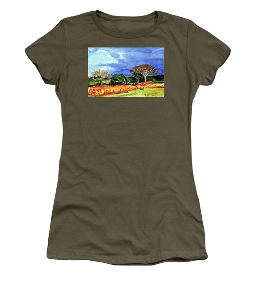 Women's T-Shirt (Athletic Fit) featuring the painting Dreaming Of Malawi by Dora Hathazi Mendes