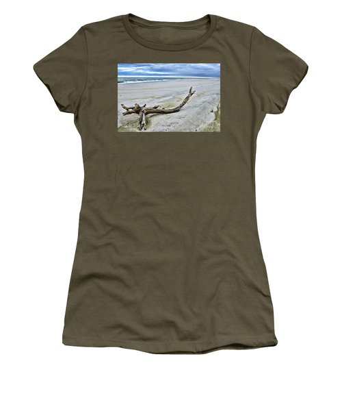 Women's T-Shirt (Junior Cut) featuring the photograph Driftwood On The Beach by Paul Ward