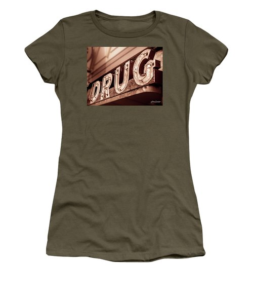 Drug Store Sign - Vintage Downtown Pharmacy Women's T-Shirt (Athletic Fit)