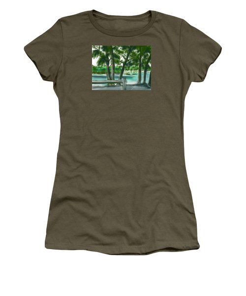Women's T-Shirt (Junior Cut) featuring the painting Dubois Park Lagoon by Jean Pacheco Ravinski