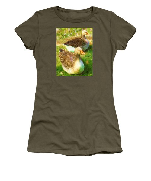 Gandering Geese Women's T-Shirt (Junior Cut) by Ric Darrell