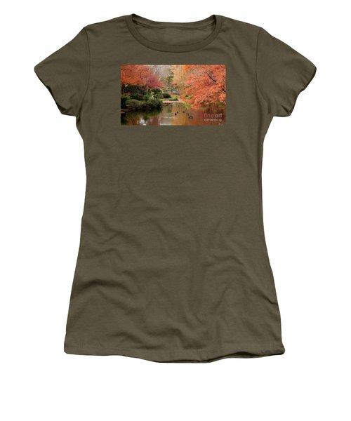 Ducks In The Pond Women's T-Shirt (Junior Cut) by Iris Greenwell