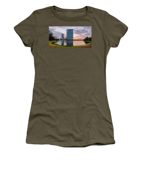Dusk Panorama Of The Woodlands Waterway And Anadarko Petroleum Towers - The Woodlands Texas Women's T-Shirt (Athletic Fit)