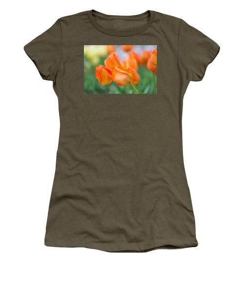Women's T-Shirt (Athletic Fit) featuring the photograph Dutch Orange Tulips  by Jenny Rainbow