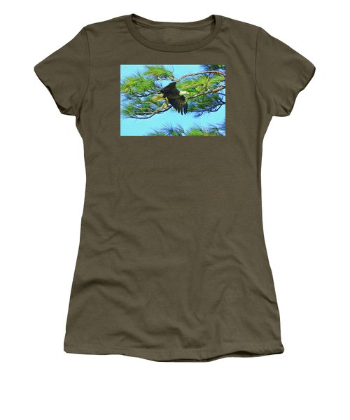 Women's T-Shirt (Junior Cut) featuring the painting Eagle Series Food by Deborah Benoit