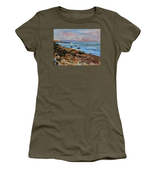 Women's T-Shirt (Athletic Fit) featuring the painting Early Morning Low Tide by Walter Fahmy