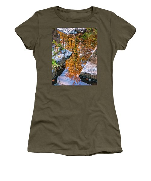 Women's T-Shirt (Junior Cut) featuring the photograph Eau Claire Dells Fall Reflection by Trey Foerster