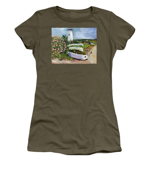 Women's T-Shirt (Junior Cut) featuring the painting Edgartown Light And Her Entourage by Michael Helfen