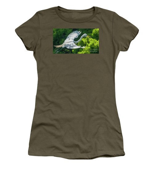 Egret Flying With Twigs Women's T-Shirt
