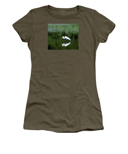Egret Reflection Women's T-Shirt (Junior Cut) by Kathy Eickenberg